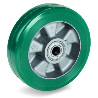 Green Elastic Polyurethane Tyre Bonded to Aluminium Centre, Wheel, Ball Bearing