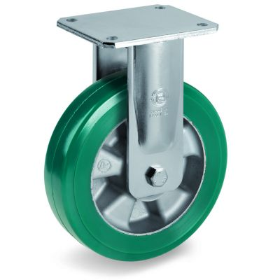 Green Elastic Polyurethane Tyre Bonded to Aluminium Centre, Electro Welded Fixed Top Plate Castor, EE MHD Duty