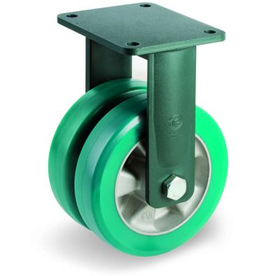 Green Elastic Polyurethane Tyre Bonded to Aluminium Centre, Electro Welded Fixed Top Plate Castor, EEG HD Duty
