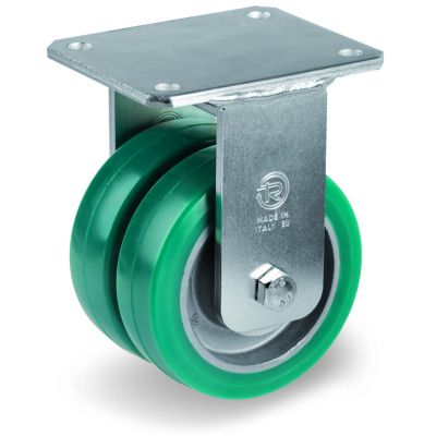 Green Elastic Polyurethane Tyre Bonded to Aluminium Centre, Electro Welded Fixed Top Plate Castor, EEG MHD Duty