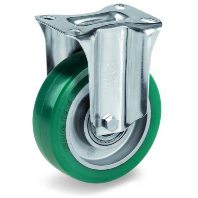 Green Elastic Polyurethane Tyre Bonded to Aluminium Centre, Fixed Top Plate Castor, NL Duty