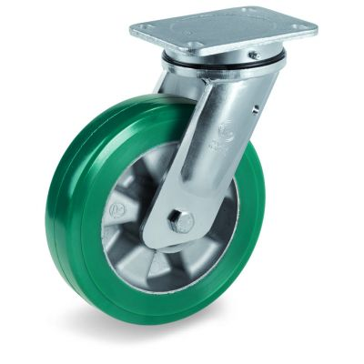 Green Elastic Polyurethane Tyre Bonded to Aluminium Centre, Electro Welded Swivel Top Plate Castor, EE MHD Duty