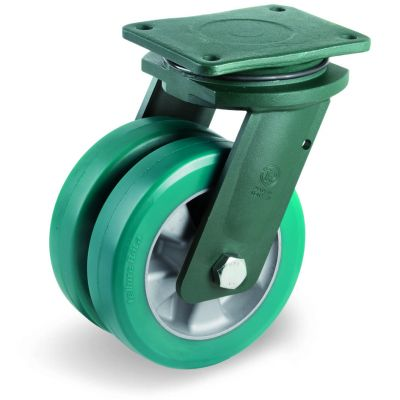 Green Elastic Polyurethane Tyre Bonded to Aluminium Centre, Electro Welded Swivel Top Plate Castor, EEG HD Duty