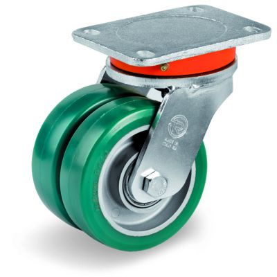 Green Elastic Polyurethane Tyre Bonded to Aluminium Centre, Electro Welded Swivel Top Plate Castor, EEG MHD Duty