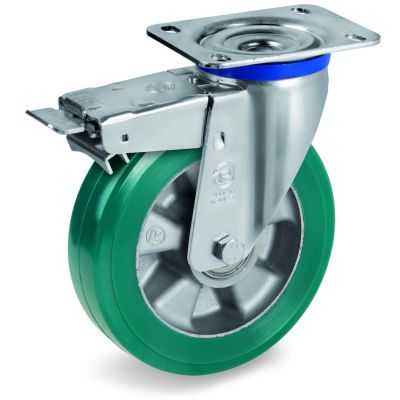 Green Elastic Polyurethane Tyre Bonded to Aluminium Centre, Swivel Top Plate Castor with Brake, M Duty