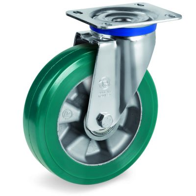 Green Elastic Polyurethane Tyre Bonded to Aluminium Centre, Swivel Top Plate Castor, M Duty