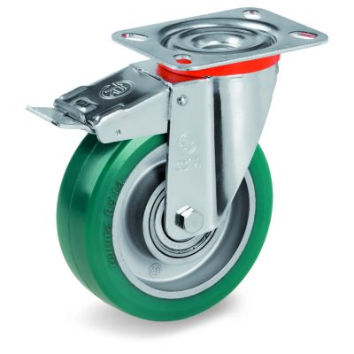Green Elastic Polyurethane Tyre Bonded to Aluminium Centre, Swivel Top Plate Castor with Brake, NL Duty