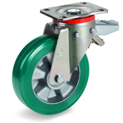 Green Elastic Polyurethane Tyre Bonded to Aluminium Centre, Swivel Top Plate Castor with Brake, P Duty