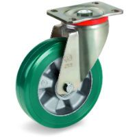 Green Elastic Polyurethane Tyre Bonded to Aluminium Centre, Swivel Top Plate Castor, P Duty