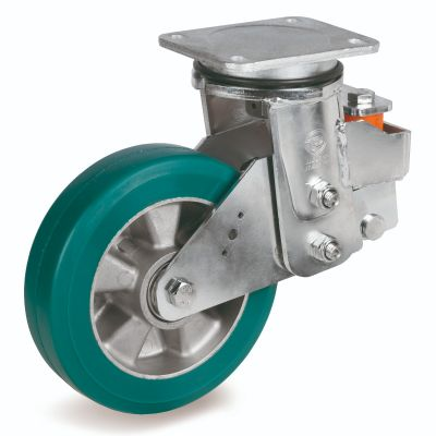 Green Elastic Polyurethane Tyre Bonded to Aluminium Centre, Electro Welded Swivel Top Plate Castor, EES MHD Duty