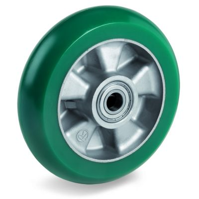 TR Roll Polyurethane Tyre with Ergonomic Round Profile Bonded to Aluminium Centre, Wheel, Ball Bearing