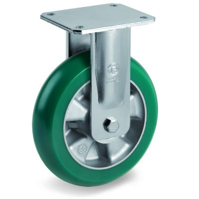 TR Roll Polyurethane Tyre with Ergonomic Round Profile Bonded to Aluminium Centre, Electro Welded Fixed Top Plate Castor, EE MHD Duty