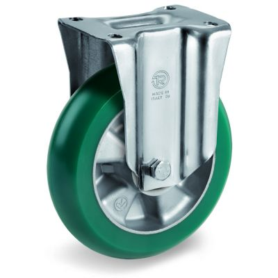 TR Roll Polyurethane Tyre with Ergonomic Round Profile Bonded to Aluminium Centre, Swivel Top Plate Castor with Brake, M Duty