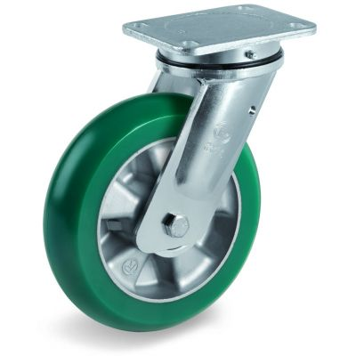 TR Roll Polyurethane Tyre with Ergonomic Round Profile Bonded to Aluminium Centre, Electro Welded Swivel Top Plate Castor, EE MHD Duty