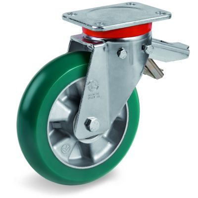 TR Roll Polyurethane Tyre with Ergonomic Round Profile Bonded to Aluminium Centre, Swivel Top Plate Castor with Brake, EP Duty