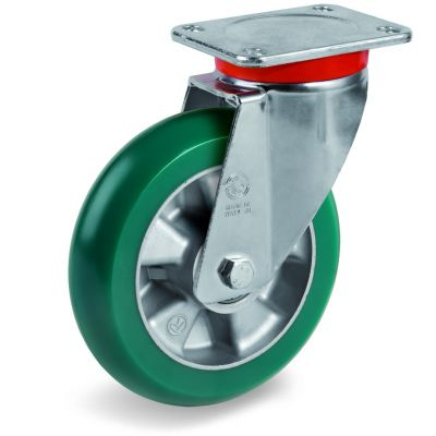 TR Roll Polyurethane Tyre with Ergonomic Round Profile Bonded to Aluminium Centre, Swivel Top Plate Castor, EP Duty
