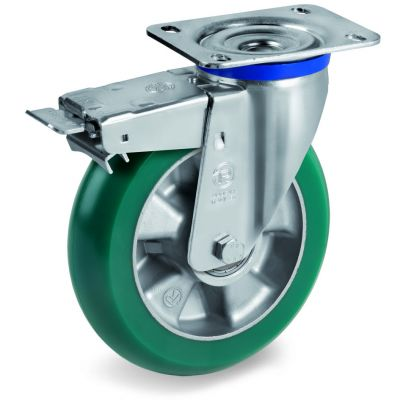 TR Roll Polyurethane Tyre with Ergonomic Round Profile Bonded to Aluminium Centre, Fixed Top Plate Castor, M Duty