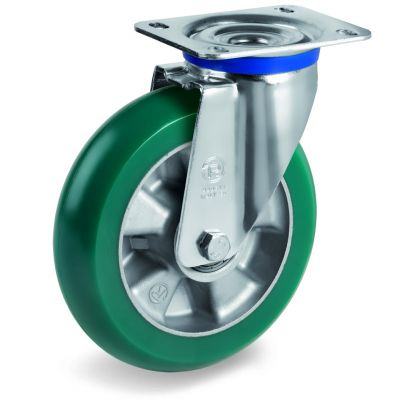 TR Roll Polyurethane Tyre with Ergonomic Round Profile Bonded to Aluminium Centre, Swivel Top Plate Castor, M Duty