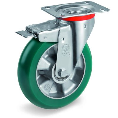 TR Roll Polyurethane Tyre with Ergonomic Round Profile Bonded to Aluminium Centre, Swivel Top Plate Castor with Brake, NL Duty