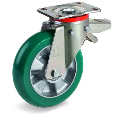 TR Roll Polyurethane Tyre with Ergonomic Round Profile Bonded to Aluminium Centre, Swivel Top Plate Castor with Brake, P Duty