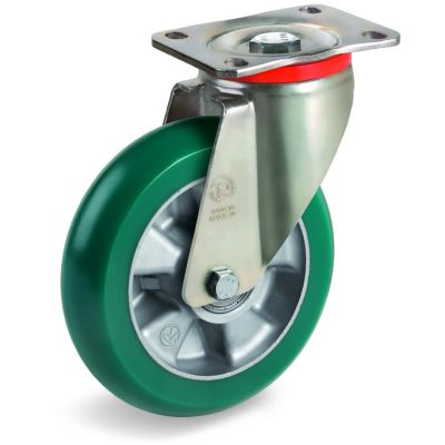 TR Roll Polyurethane Tyre with Ergonomic Round Profile Bonded to Aluminium Centre, Swivel Top Plate Castor, P Duty