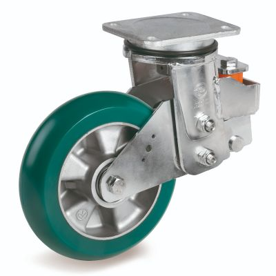TR Roll Polyurethane Tyre with Ergonomic Round Profile Bonded to Aluminium Centre, Electro Welded Swivel Top Plate Castor, EES MHD Duty