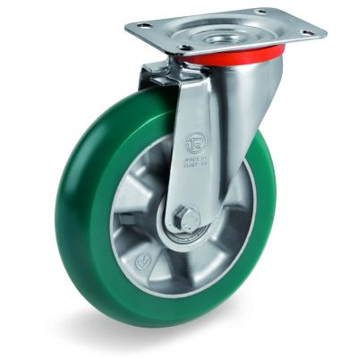 TR Roll Polyurethane Tyre with Ergonomic Round Profile Bonded to Aluminium Centre, Swivel Top Plate Castor, NL Duty