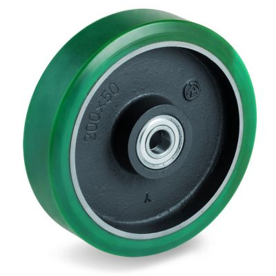 TR Roll Polyurethane Tyre with Cast Iron Centre, Wheel, Ball Bearing