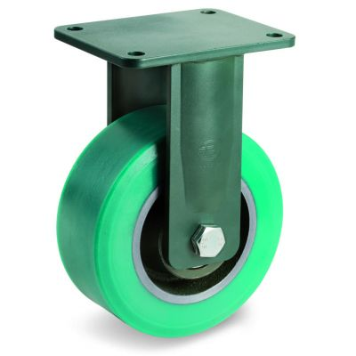 TR Roll Polyurethane Tyre with Cast Iron Centre, Electro Welded Fixed Top Plate Castor, EE HD Duty