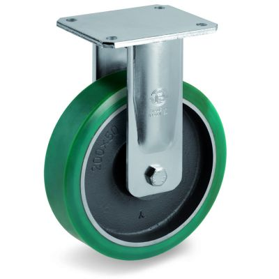 TR Roll Polyurethane Tyre with Cast Iron Centre, Electro Welded Fixed Top Plate Castor, EE MHD Duty