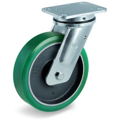 TR Roll Polyurethane Tyre with Cast Iron Centre, Electro Welded Swivel Top Plate Castor, EE MHD Duty