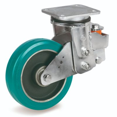 TR Roll Polyurethane Tyre with Cast Iron Centre, Swivel Top Plate Castor, EES MHD Duty