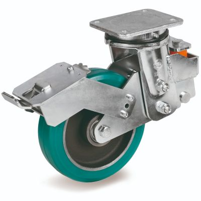 TR Roll Polyurethane Tyre with Cast Iron Centre, Swivel Top Plate Castor with Brake, EES MHD Duty