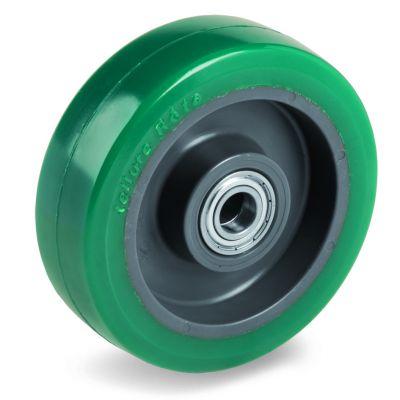 Green Elastic Soft Polyurethane Tyre with Nylon Centre, Wheel, Ball Bearing