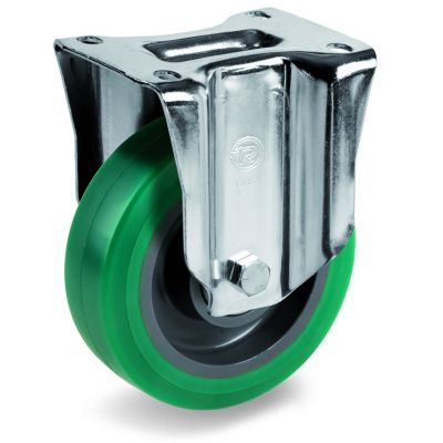 Green Elastic Soft Polyurethane Tyre with Nylon Centre, Fixed Top Plate Castor, M Duty
