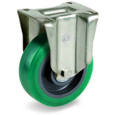Green Elastic Soft Polyurethane Tyre with Nylon Centre, Fixed Top Plate Castor, P Duty