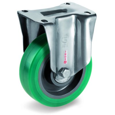 Green Elastic Soft Polyurethane Tyre with Nylon Centre, Stainless Steel Fixed Top Plate Castor, NLX duty