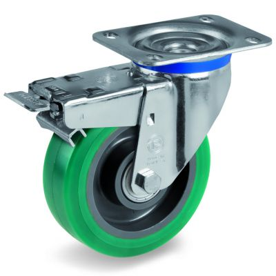 Green Elastic Soft Polyurethane Tyre with Nylon Centre, Swivel Top Plate Castor with Brake, M Duty