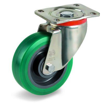 Green Elastic Soft Polyurethane Tyre with Nylon Centre, Swivel Top Plate Castor, P Duty