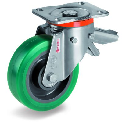 Green Elastic Soft Polyurethane Tyre with Nylon Centre, Stainless Steel Swivel Top Plate Castor with Brake, NLX duty