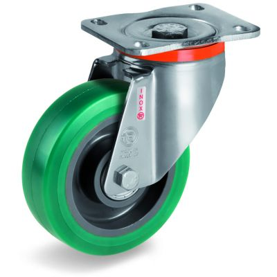 Green Elastic Soft Polyurethane Tyre with Nylon Centre, Stainless Steel Swivel Top Plate Castor, NLX duty