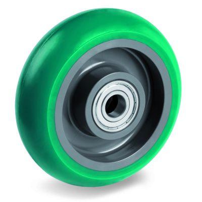 Green Elastic Soft Polyurethane Tyre with Nylon Centre, Wheel, Ball Bearing Facility