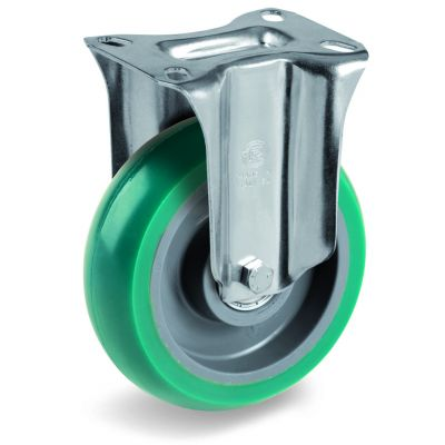 Green Elastic Soft Polyurethane Tyre with Nylon Centre, Fixed Top Plate Castor, NL Duty