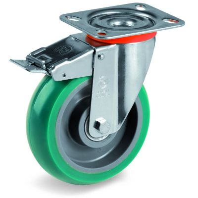 Green Elastic Soft Polyurethane Tyre with Nylon Centre, Swivel Top Plate Castor with Brake, NL Duty