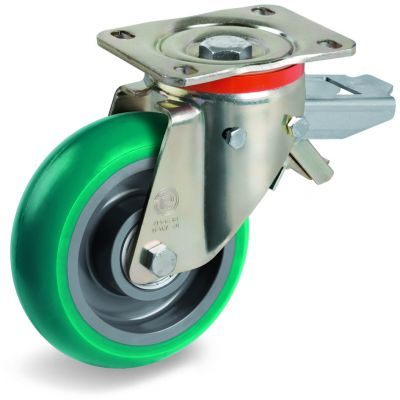 Green Elastic Soft Polyurethane Tyre with Nylon Centre, Swivel Top Plate Castor with Brake, P Duty