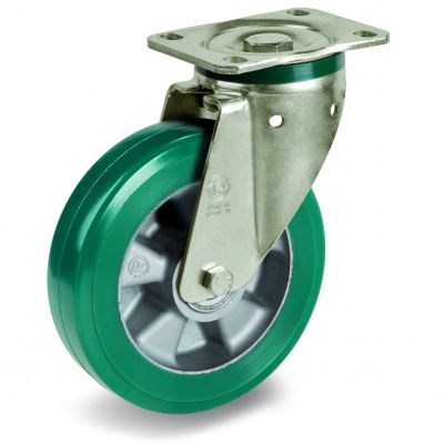 Green Elastic Polyurethane Tyre Bonded to Aluminium Centre, Swivel Top Plate Castor, PT Duty