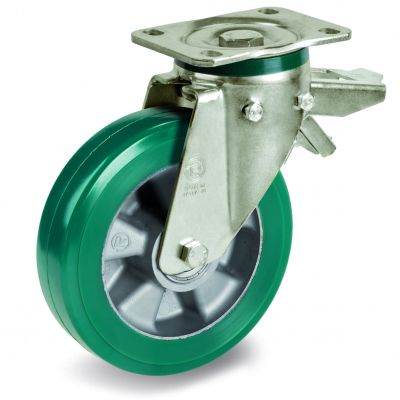 Green Elastic Polyurethane Tyre Bonded to Aluminium Centre, Swivel Top Plate Castor with Brake, PT Duty
