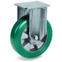 Green Elastic Polyurethane Tyre Bonded to Aluminium Centre, Fixed Top Plate Castor, EP Duty