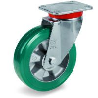 Green Elastic Polyurethane Tyre Bonded to Aluminium Centre, Swivel Top Plate Castor, EP Duty