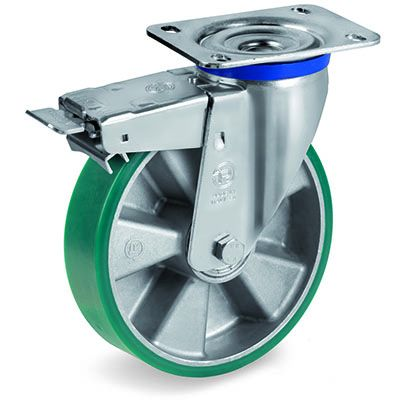 TR Roll Elastic Polyurethane with Thin Tyre and Aluminium Centre, Swivel Top Plate Castor with Brake, M Duty